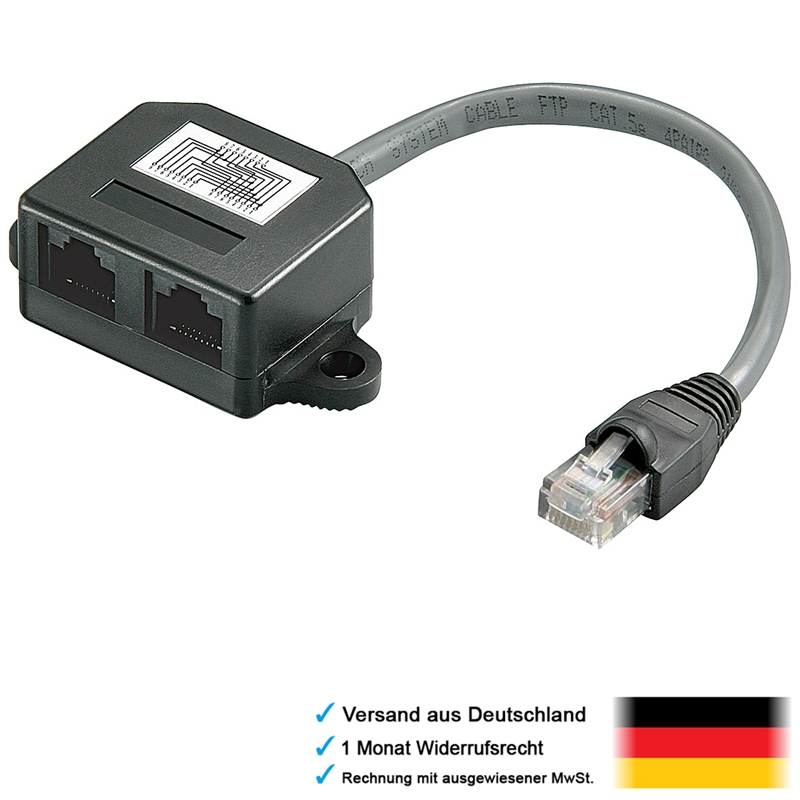 dsl lan netzwerk y kabel verteiler 1x rj45 stecker in 2x rj 45 kupplung out ebay. Black Bedroom Furniture Sets. Home Design Ideas